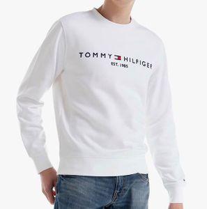 Tommy Hilfiger Herren Gestapeltes Flaggen-Sweatshirt Pullover Weiß M