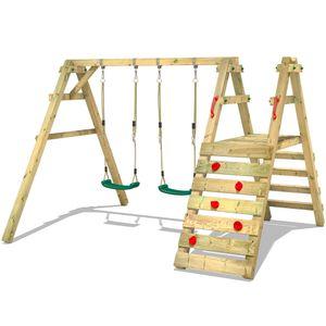 WICKEY Kinderschaukel Schaukelgestell Sky Runner Prime Schaukel, Schaukelgerüst, Doppelschaukel, Holzschaukel mit Kletteranbau