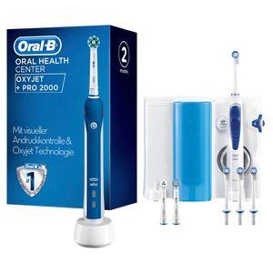 Oral-B Mundpflegecenter PRO 2000 Elektrische Zahnbürste + Oxyjet Munddusche, für eine sanfte Reinigung am Zahnfleischrand, 4 OxyJet Aufsteckdüsen