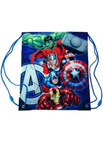Marvel Avengers Turnbeutel Schuh-Beutel Tasche Ironman Thor Hulk Captain America, Farbe:Blau