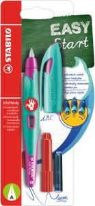 Ergonomischer Schulfüller für Rechtshänder mit Anfänger-Feder A - STABILO EASYbirdy in türkis/neonpink - Einzelstift - Schreibfarbe blau (löschbar) - inklusive Patrone und Einstellwerkzeug