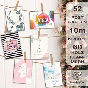 WeddingTree 52 Postkarten Hochzeit mit 10m Schnur und 60 Klammern - Postkarten Set A6 - für 52 Wochen