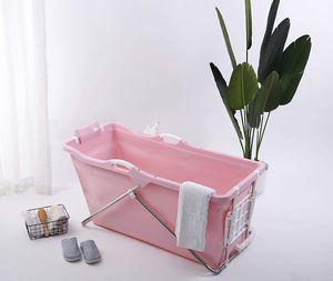 Schwänlein® Faltbare Badewanne 128 x 60 x 53 cm mit Seifenkorb, Nackenkissen, Hocker. praktisch und tragbar (Rosa)