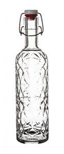 3x Bormioli Rocco Bügelflaschen 1 Liter transparent 33 cm hoch inkl. Gummidichtung   Metallbügelvers