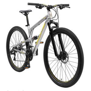 BIKESTAR Vollgefedert Aluminium Mountainbike 29 Zoll, 21 Gang Shimano Schaltung mit Scheibenbremse | 17,5 Zoll Rahmen Fully MTB Erwachsenen- und Jugendfahrrad | Grau
