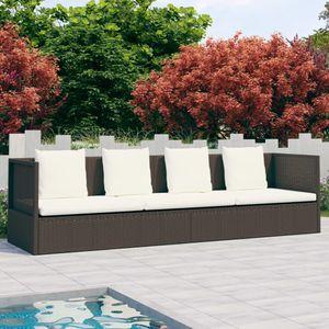 vidaXL Outdoor-Lounge-Bett mit Polster & Kissen Poly Rattan Braun