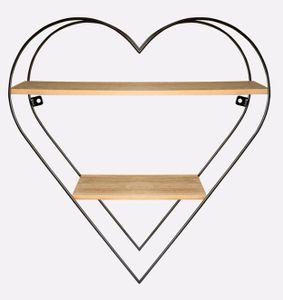 Herzregal mit 2 Ablagen aus Metall und Holz Herzform HxBxT 50 x 50 x 15 cm romantisches Nachbildungegal