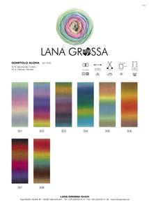 Lana Grossa - Gomitolo Aloha - Fb. 301 rosa/pfirsich/hellgrün/hellblau/hellgrau/flieder 100 g