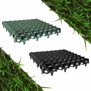 befahrbare Rasengitter Platten (50 x 50 x 4 cm, Farbe: schwarz) aus hochrobustem Kunststoff, zur Parkplatzbefestigung, Bodenstabilisierung, Rasenbefestigung, belastbar mit PKW bis zu 1000t/m²