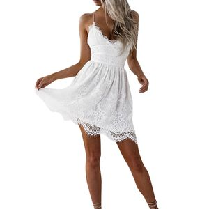 Frauen Spitze ärmellose Bodycon Cocktail Party Bleistiftkleid Bandage Kleider Größe:S,Farbe:Weiß