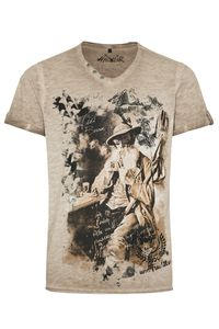 Hangowear Trachtenshirt kurzarm braun Theo 009415 Größe: L