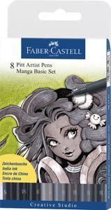 FABER-CASTELL Tuschestift PITT artist pen Manga Basic Set 8 Stifte