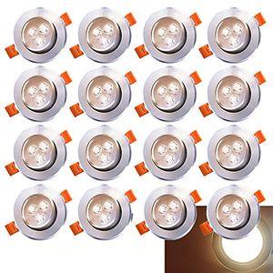 VINGO 20x LED Einbaustrahler Einbau-Spots Schwenkbar 3W Leuchtmittel Decken-Leuchte Einbaulampe Warmweiss Deckeneinbauleuchte Spots 230V