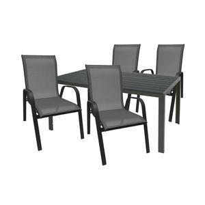 Gartengarnitur Sitzgarnitur 5-teilig 180x90cm Aluminium / Polywood Anthrazit/Schwarz