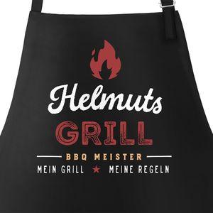 Personalisierte Grill-Schürze für Männer mit Name BBQ Meister meine Regeln Baumwoll-Schürze Küchenschürze Moonworks® schwarz unisize