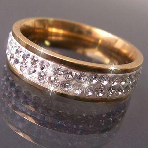 R509-21 Ring Edelstahl mit Gold plattiert Strass clear 21mm Damen neu