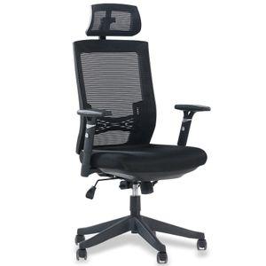 Aiidoits Bürostuhl, Ergonomischer Schreibtischstuhl, Höhenverstellbarer Drehstuhl mit Leisen Rollen und Verdicktem Sitzkissen, Einstellbare Armlehne Kopfstütze und Lendenstütze, Chefsessel bis 150 kg