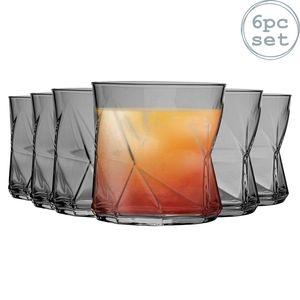 Bormioli Rocco Cassiopea Geometric Whiskyglas Gläser Set - 320ml - Grau - 6er Pack