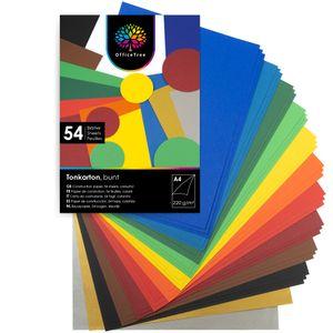 OfficeTree 54 Blatt Bastelpapier bunt - Bastelset Kinder - Tonpapier A4 220g/m² zum Basteln Gestalten - 10 Farben - Mit Gold- und Silberbögen 130g/m²