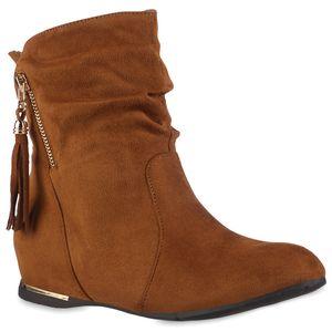 VAN HILL Damen Schlupfstiefeletten Stiefeletten Keilabsatz Quasten Schuhe 837871, Farbe: Hellbraun, Größe: 39