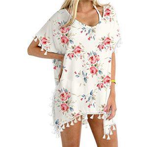 Damen Trim Kaftan Chiffon Quasten Bademode Strand Lose Bikini Cover Up Tops Größe:XXXL,Farbe:Weiß