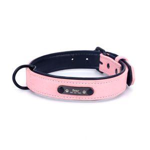 Neues Haustierhalsband Mikrofaser Kunstleder Schriftzug Kragen benutzerdefinierte Hundehalsband Anti-verlorene Marke Kragen Hundehalsband,Pink