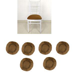 6x Stretch Stuhlbezug Stuhlhusse Stuhlüberzug Husse für Stuhl Hocker - Kaffee