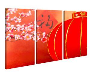 Leinwandbild 3 Tlg Kirsche rot Baum Blumen Lampe China japanisch Garten Leinwand Bild Bilder canvas Holz fertig gerahmt 9V1233, 3 tlg BxH:90x60cm (3Stk  30x 60cm)