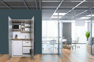 respekta Schrankküche Küche Miniküche Küchenzeile Büro Küchenblock Silber grau