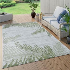 In- & Outdoorteppich Beige Grün Palmen Design Balkon Terrasse Robust Wetterfest, Grösse:80x150 cm