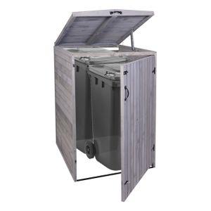 XL 1er-/2er-Mülltonnenverkleidung HWC-H74, Mülltonnenbox, erweiterbar 120x75x96 Massiv-Holz  anthrazit-grau