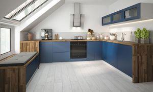 Küchenzeile U-Form 210x330x210cm Küche weiß / violettblau matt lackiert Modern Küchenblock