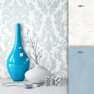 Barocktapete Wohnzimmer Beige Vlies Klassik Landhaus Natur Traditionell Barock Landhaus Klassik Ornament   Roco Blau - Muster