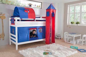 Relita Etagenbett BENI Buche massiv weiß lackiert mit Textilset blau/rot, BE3001117-B90+TX5042010+TX5072010+TX5182010+TX5032010