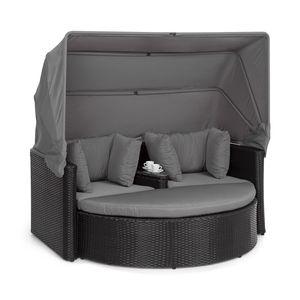 Blumfeldt Heartland 2 Sitzer-Lounge-Sofa mit integriertem Kaffeetisch  , Loveseat Gartenliege  , Stahlrahmen mit Polyrattan in Weidenflecht-Optik  , Zustell-Hocker  , extra Kissen  , Staufach unter dem Tisch  , Liege-und Sitzmöglichkeit  , max. Belastbarkeit 160 kg  , inklusive Sonnendach  , grau