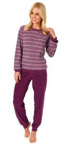 Edler Damen Frottee Pyjama langarm Schlafanzug mit Bündchen in Streifenoptik - 291 13 902, Farbe:rot, Größe:36/38