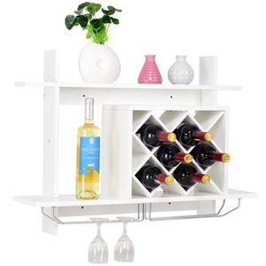 COSTWAY Weinregal mit Weinglashalter Flaschenregal Weinstaender Weinschrank Haengeregal Haengeweinregal Wandregal Weinflaschenhalter Holz weiss