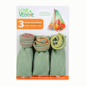 slowroom 3er Set Obst- und Gemüsebeutel Love Veggie 520