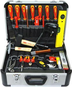 FAMEX 478-10 Alu Werkzeugkoffer mit Werkzeug für den Elektriker   Elektriker Werkzeugkiste   Profi Werkzeugkasten mit Werkzeug Set