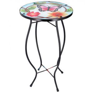 Arti Casa mosaik-Tabelle Schmetterling Blume mehrfarbig 30x30x54 cm