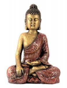 Buddha Figur 39 x 26 cm rot gold Skulptur Feng Shui