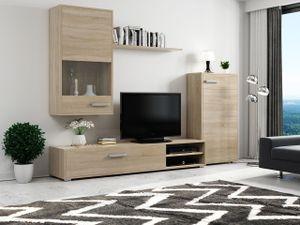 Mirjan24 Wohnwand Kama, Stilvoll Schrankwand, Wohnzimmer-Set, Mediawand vom Hersteller (Farbe: Sonoma Eiche)