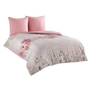 3 tlg Bettwäsche 200x220+80x80 cm Baumwolle Renforce weiß rosa Geblümt Bettbezug Vitale