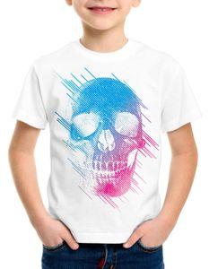 style3 Neon Skull T-Shirt Kinder totenkopf disco neon festival, Farbe:Weiß, Größe:164