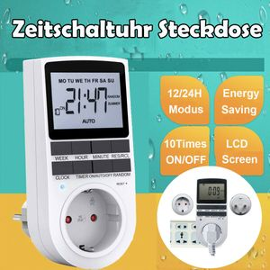 LCD Digitale Zeitschaltuhr Steckdose Wochenzeitschaltuhr 10 Program programmierbar Wochentimer 12/24h Timer
