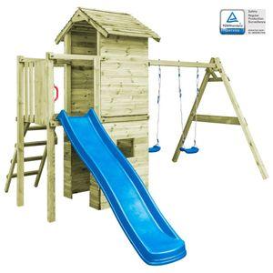 Kinderschaukel Spielturm mit Leiter, Rutsche  Schaukeln 390×353×268 cm Holz