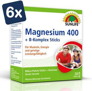SUNLIFE Magnesium 400 + B-Komplex 20 Sticks à 2,5g für Muskeln, Nerven 6er Pack