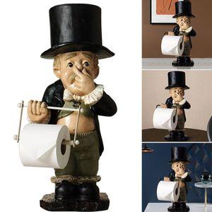 kreativer Toilettenpapierhalter, 20cm lusitiges Stehend Dekofiguren Ornamente mit Klopapierrollenhalter, Kunst Statue Dekoration