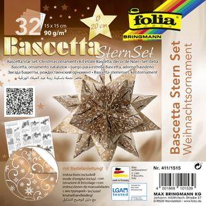 """folia Faltblätter Bascetta-Stern """"Ornament 1"""" 150 x 150 mm 32 Blatt kupfer weiß"""