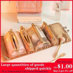 Damen Kosmetiktasche faltbare Reiseaufbewahrungstasche zum Aufhängen Nylon Mesh abnehmbare Kulturtasche Seilaufbewahrung Kosmetiktasche